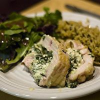 Bacon-Wrapped Spinach and Ricotta-Stuffed Chicken