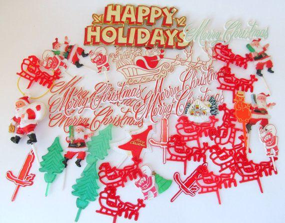 Christmas Vintage Plastic Cake Decorations