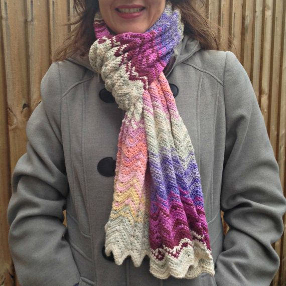 Crochet Scarf Patterns Zigzag : Crochet pattern for scarf in chevrons zig zag by crocheTime, ?3.50