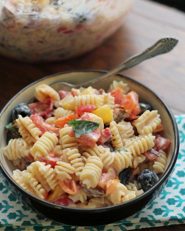 Heirloom Tomato Pasta Salad with Ricotta Salata Cream Sauce (#RecipeR ...