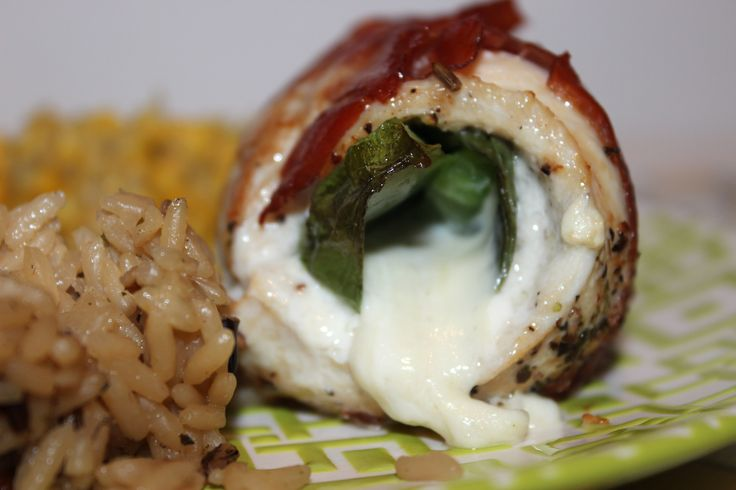 Chicken Roulade Stuffed with Sweet Basil, Mozzarella, & Bell Pepper ...