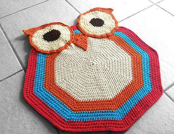 PATTERN, Crochet Owl Accent Rug, Nursery Decoration, Kids ...