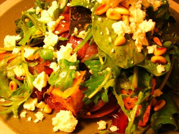 Steak With Caramelized Red Onion, Feta and Roasted Pumpkin