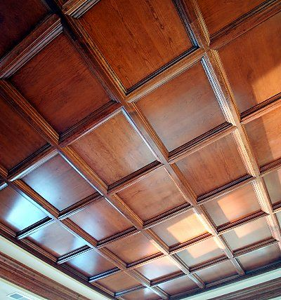 Wood ceiling tiles drop