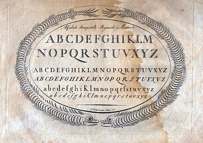Beautiful antique Italian typography with calligraphy-flourished dolphin frame - this site has oodles of *free* typography & graphics   #journal #typography #graphics #free