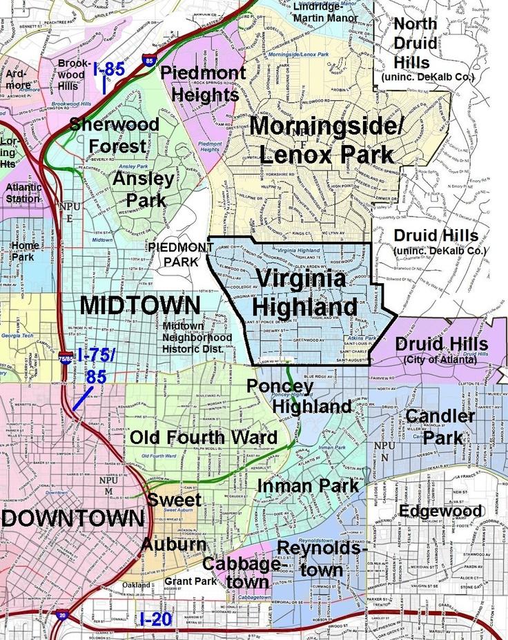 Northeast Atlanta Neighborhoods  ATL  Pinterest