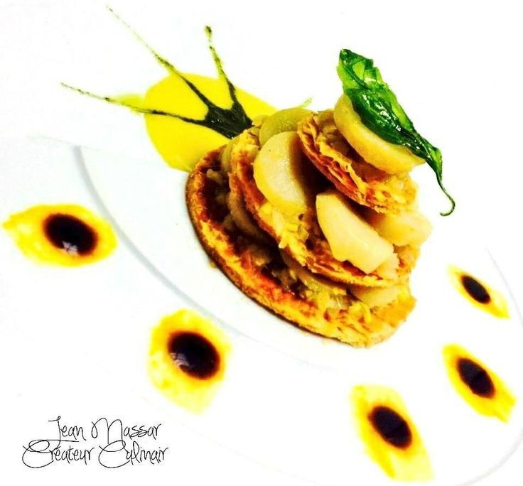 North Atlantic Sea Scallops & Saffron Creamy Leeks Mille Feuille With ...