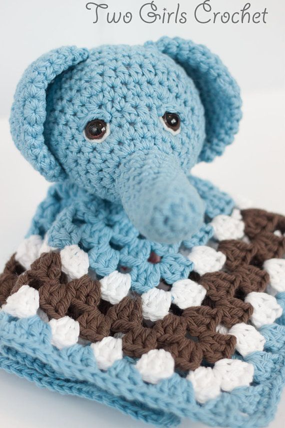 Elephant Crochet Security Blanket - Elephant Lovey - Baby Snuggle Bla ...