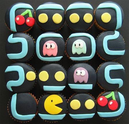 Pacman cupcakes! Chomp, chomp, chomp!