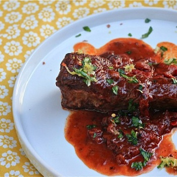 Red Wine Braised Short Ribs with Lemon Herb Gremolata