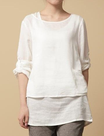 White Linen Blouses 8