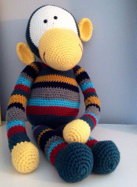 Crochet Patterns Stuffed Animals : PATTERN George the Monkey - Large Amigurumi Stuffed Animal Crochet Pa ...