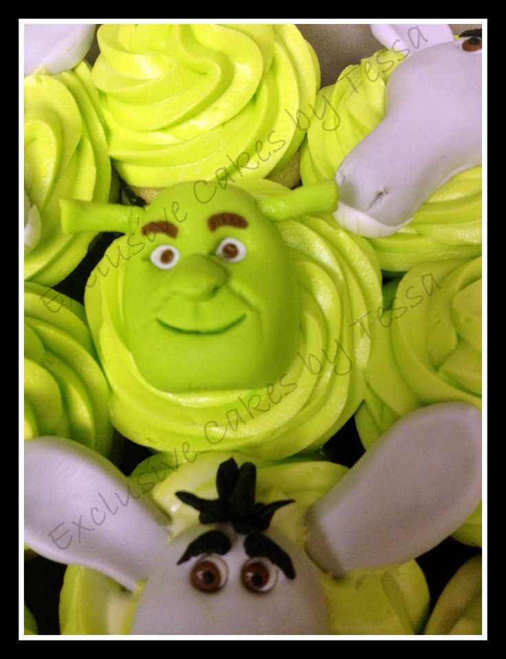 Shrek & Donkey cupcakes by Exclusive Cakes by Tessa