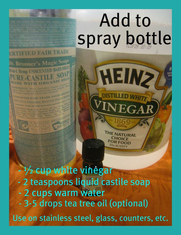 Great all-natural cleaner. I personally like the peppermint and almond castile scents. Use paper towels, newspapers or even old t-shirts. Don't worry, after the solution dries it doesn't smell like vinegar. Great for stainless steel, glass, counters, etc :-)