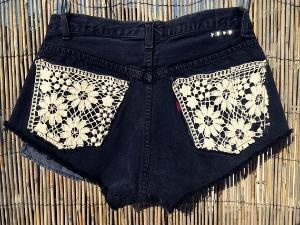 jean shorts with lace pockets