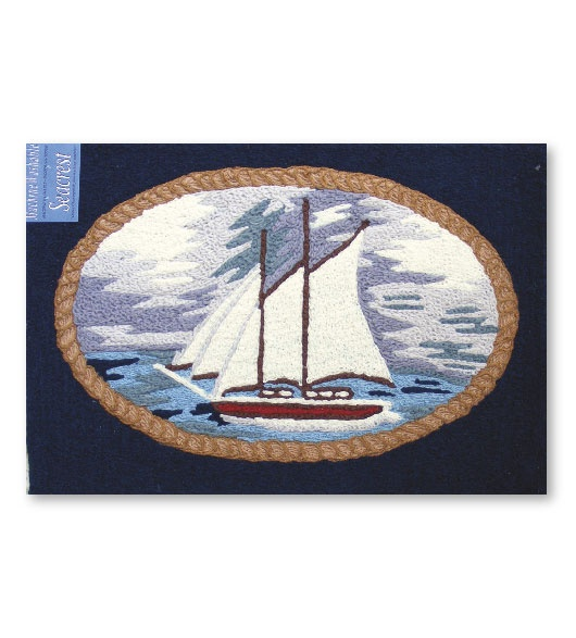 Indoor or Outdoor Nautical Sailboat Rug