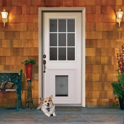 9 lite primed white steel entry door with medium pet door for Home depot back doors