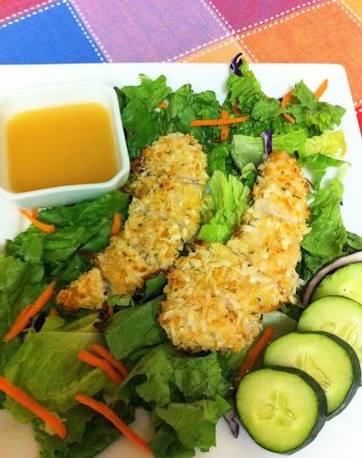 Coconut chicken and warm honey vinaigrette salad http://www.eat ...