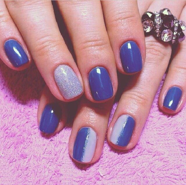Nails shellac blue&silver | Hair & makeup | Pinterest