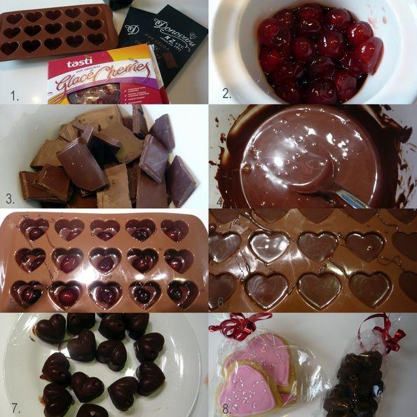 DIY cherry liqueur chocolates for valentines - simple recipe