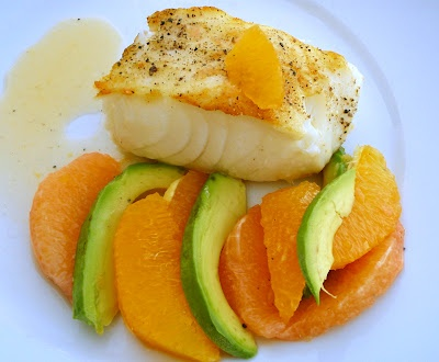 Pan-roasted Sea Bass with citrus and avocado