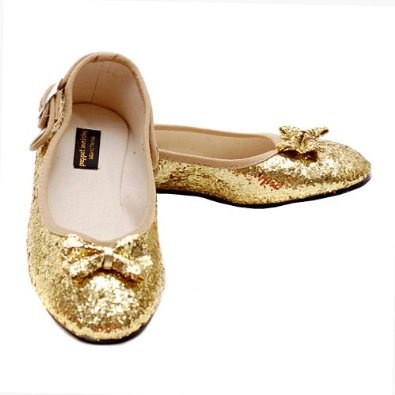 Gold sparkly flats for flower girls