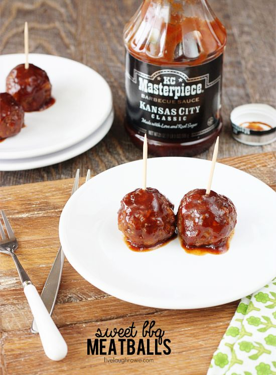 An easy and savory appetizer. Sweet BBQ Meatballs with livelaughrowe ...