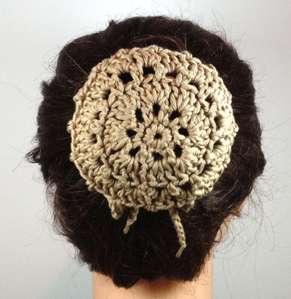 Crocheted Hair Bun Cover in Tan Organic Cotton by MelsBellsHats, $8.00