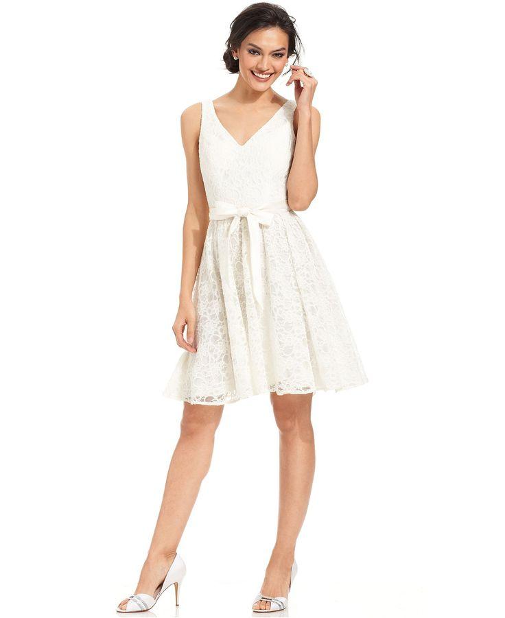 Marina Sleeveless Belted Lace A Line Dress