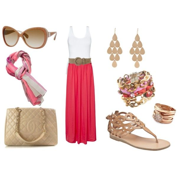 Coral summer outfits maxi dress