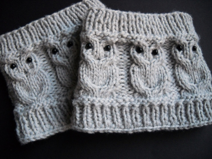 Owl Cabled Boot Cuff.