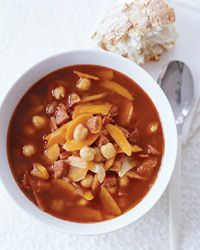 Garbanzo Soup with Chorizo and Smoked Paprika Recipe from Food & Wine