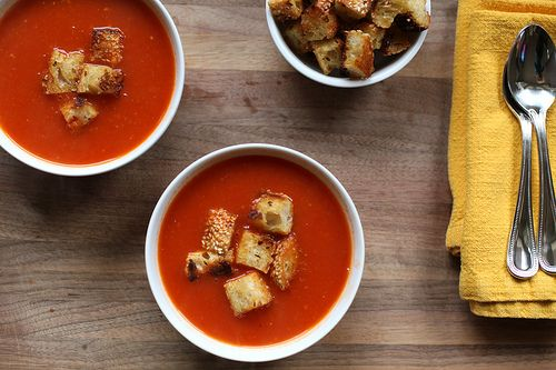 Smoky Tomato Soup with Skillet Parmesan Croutons by kristin ...