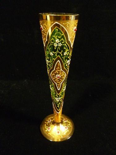 Рубеже веков свинка эмалированной Jeweled Зеленые стекла Мозер Bud Ваза