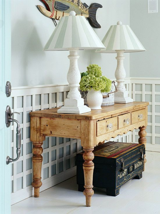 Interesting wainscoting idea, reminds me of Charlotte Moss.