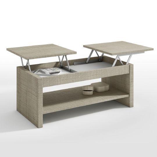 Table basse relevable Soyouz 2 plateaux frêne