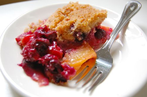 peach and blueberry crisp (just the filling part of recipe because I ...