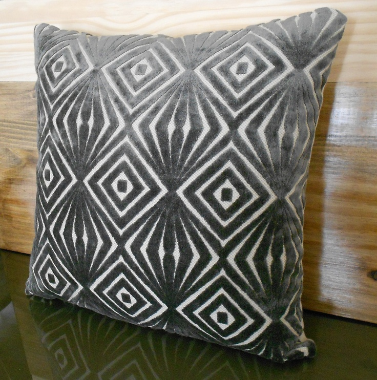 GreyDecorativePillowCoverCutVelvetRetroDiamonds
