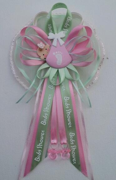 pink and green baby shower mommy corsage