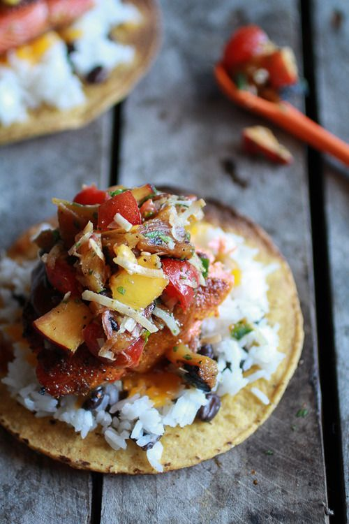 Caribbean Jerk Salmon Tostadas with Grilled Pineapple Peach...