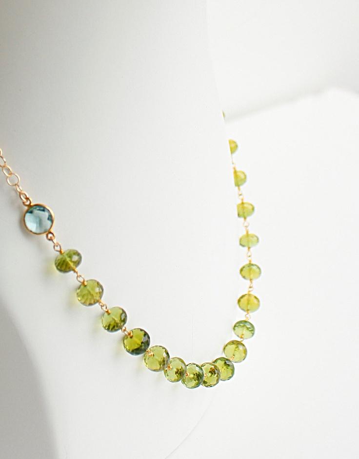 Gold green peridot necklace august birthstone bib style aqua qua