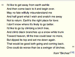 the conflict between innocence and experience in birches by robert frost By use of imagery, sound devices, point of view, and allusions, robert frost's birches parallels society as it abuses nature frost uses imagery and point of view to expand the poem from a discussion about trees to a contemplation of life and aging.