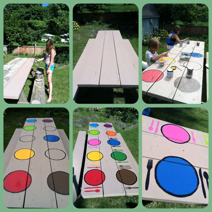 Painting Picnic Table Picnic Table Ideas Pinterest