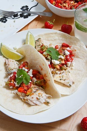 Mojito Grilled Fish Tacos with Strawberry Salsa   Recipe