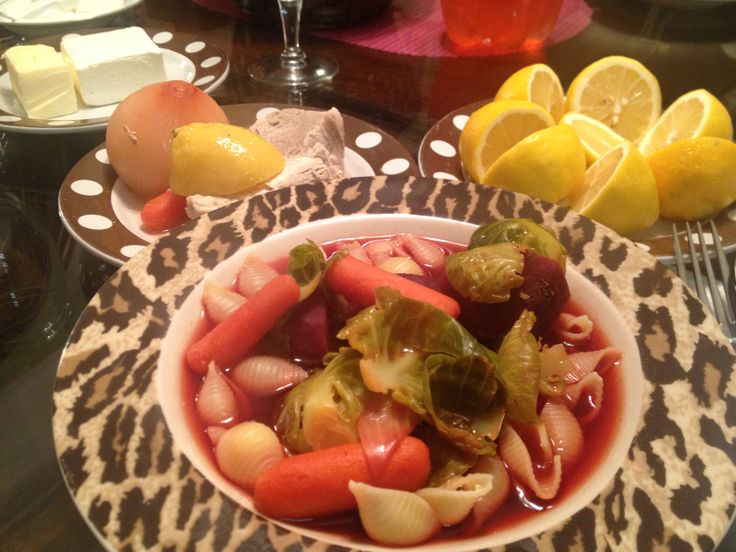 Shell pasta soup with beets, carrots, brussel sprouts & lemon for # ...