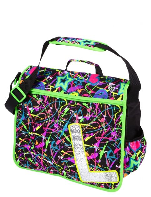 Glitter Graffiti Initial Messenger Bag | Girls Messengers Backpacks ...