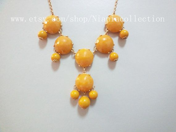 Mustard color 6 beads bubble statement necklace for Mustard colored costume jewelry