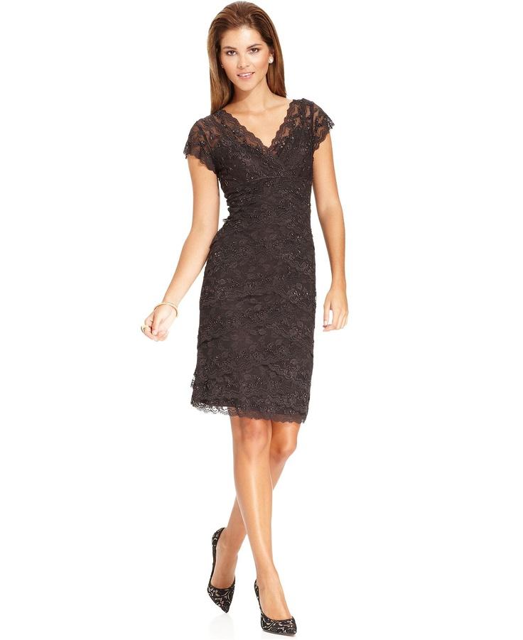 Marina Cap Sleeve Lace Dress