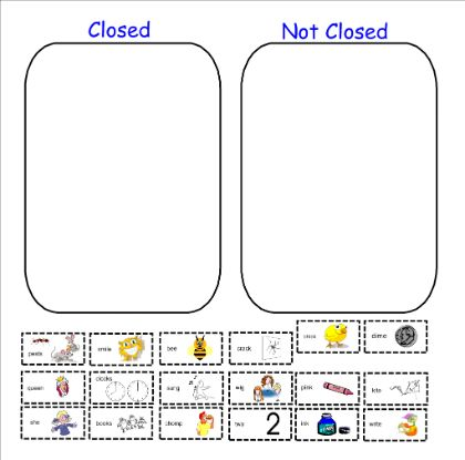 Open/Closed syllable sort | Orton Gillingham | Pinterest