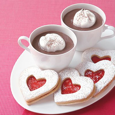Raspberry Linzer Heart Cookies and Chocolate Pots de Creme